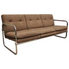 Mid-Century Modern Chrome Frame Milo Baughman Style Sofa by United Chair