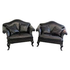Pair of Georgian Rams Head Oversized Leather Club Chairs Armchairs