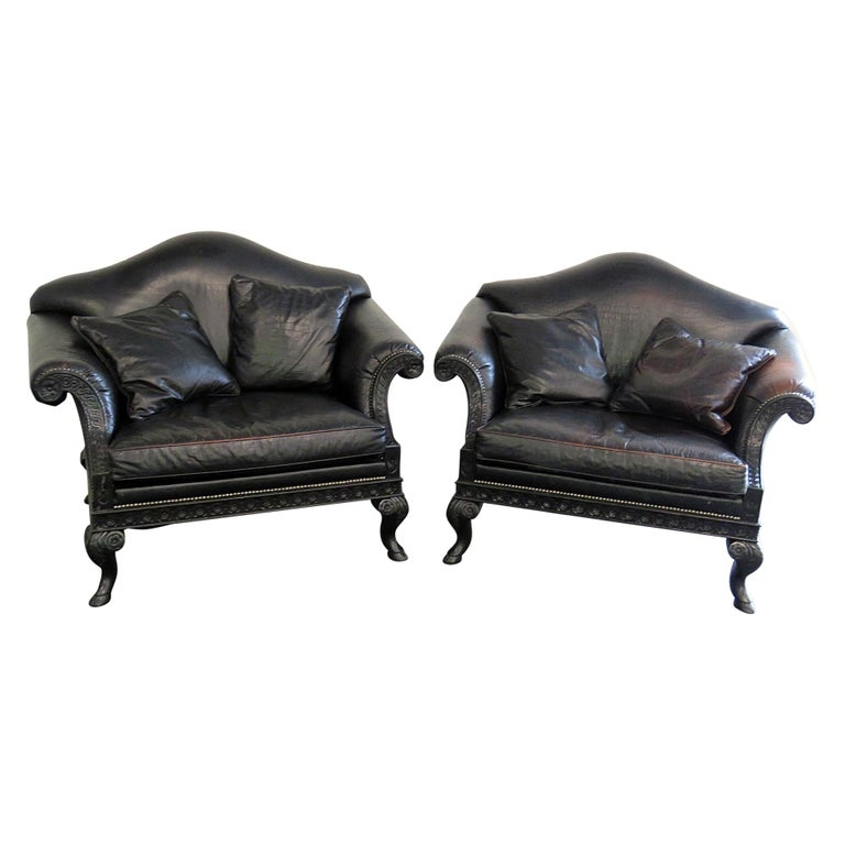 Pair of Stanford Rams Head Oversized Leather Armchairs For Sale