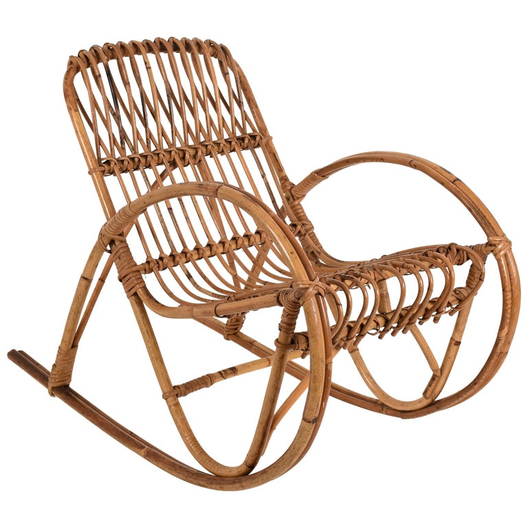 Rattan 1950s Children's Rocking Chair, Franco Albini, Bamboo, Italy, 1950s For Sale