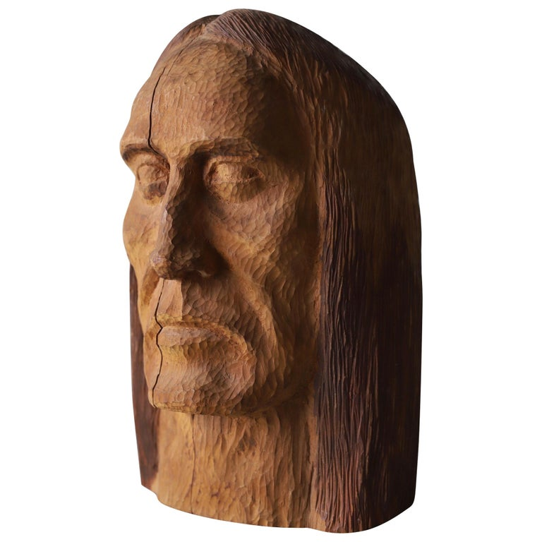 Hand Carved Wood Head For Sale