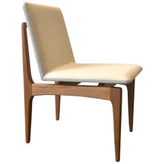 """Oscar"" Minimalist Chair in Solid Jequitibá Wood and Handwoven"