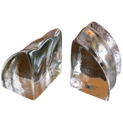 Quarter Circle Wedge Clear Glass Bookends by Blenko