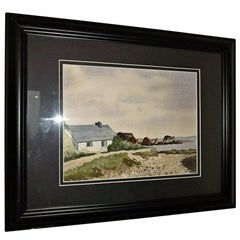 Irish Watercolor by M MacLoughlin of Cottage by the Sea