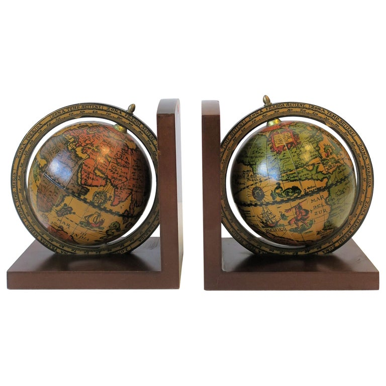 Pair of Midcentury Italian World Globe Bookends For Sale