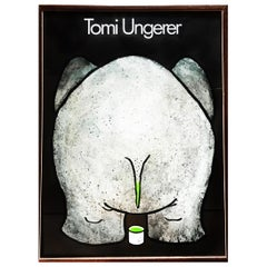 """Minimal Elephant Screen Print """"Expect the Unexpected"""" Tom Ungerer, signed, 1994"""