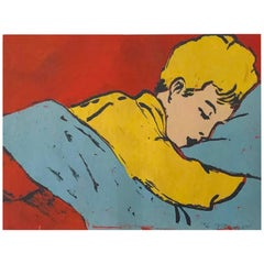 "Pop Art Silk Screen Painting ""Boy Sleeping"" by David Bromley Australia 1990s"