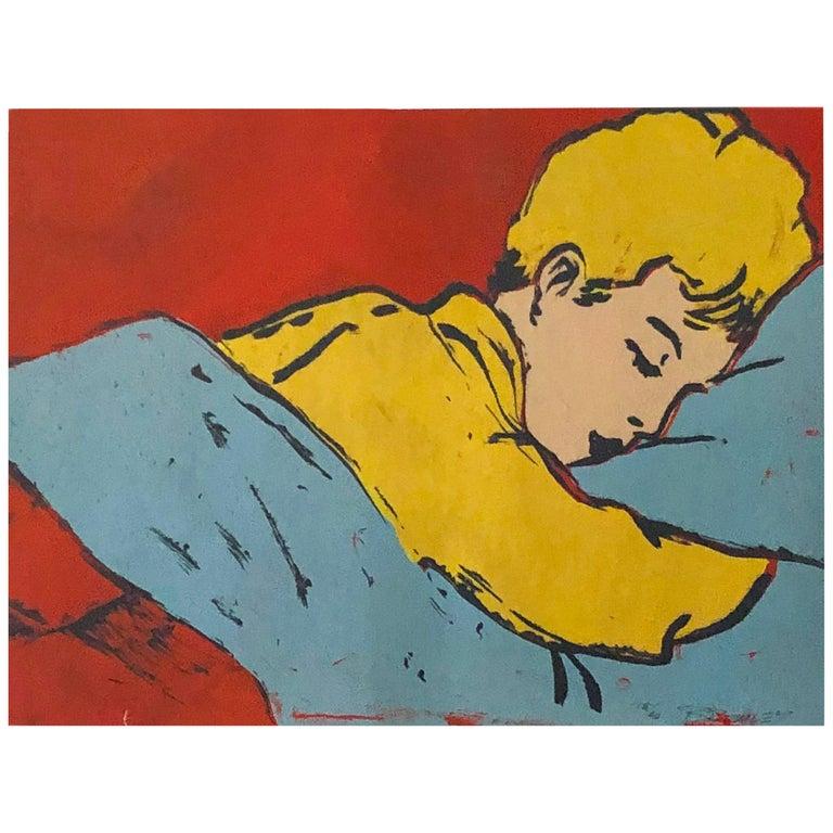 "Pop Art Silk Screen Painting ""Boy Sleeping"" by David Bromley Australia 1990s"