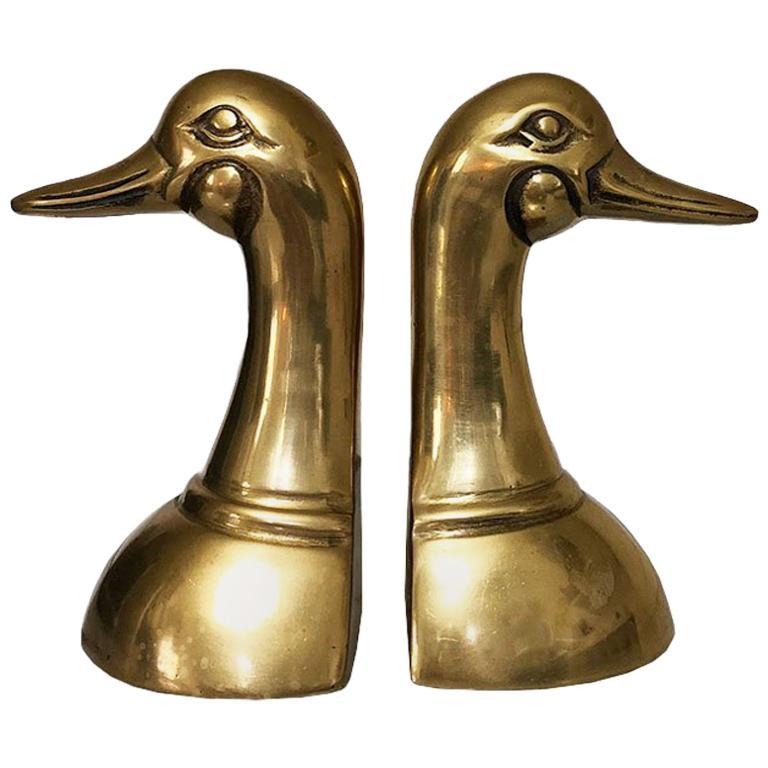 Cast Brass Duck or Mallard Head Bookends a Pair For Sale