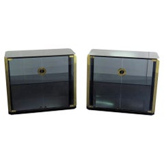 Pair of Mid-Century Modern Brass Willy Rizzo Display Vitrine Cabinets