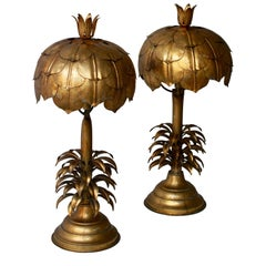 One of Two Gilt Metal Palm Tree Lamp