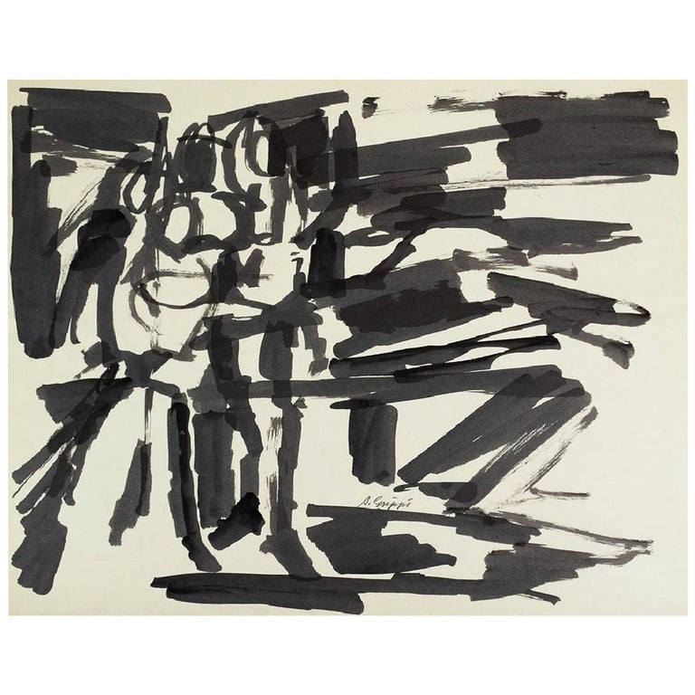 Abstract Action Painting, Black & White Pen & Ink on paper by Salvatore Grippi For Sale