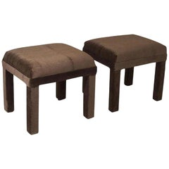Minimal Mohair Velvet Cube Stools, Geometric, deep brown, mid-century modern