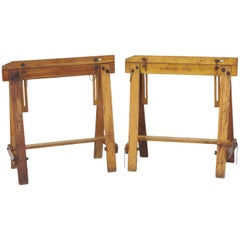 Pair of Adjustable Sawhorses, circa 1920