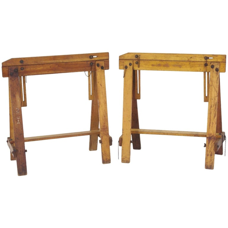 Pair of Adjustable Sawhorses, circa 1920 For Sale