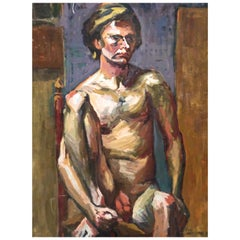 Midcentury Abstract Expressionist Male Nude Portrait by Lois Foley Whitcomb