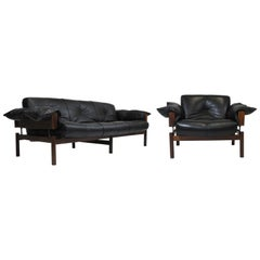 1960 Percival Lafer Brazilian Rosewood Sofa and Chair in Black Leather