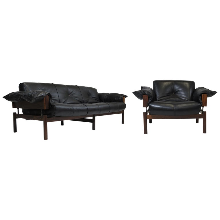 Percival Lafer Rosewood And Distressed Tufted Yellow: 1960 Percival Lafer Brazilian Rosewood Sofa And Chair In