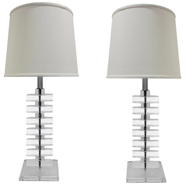 Pair of Sculptural Stacked Lucite Table Lamps, 1970s For Sale
