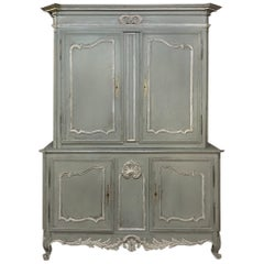 18th Century Country French Provincial Painted Buffet a Deux Corps