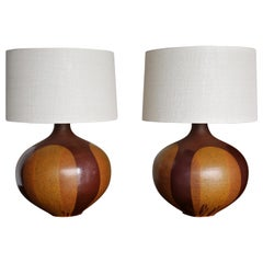 """Large Scale Pair of """"Flame Glaze"""" Ceramic Lamps by David Cressey"""