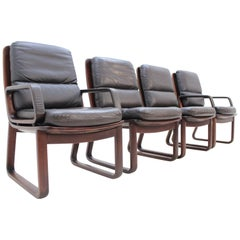 Set of Four Leather Armchairs by Eugen Schmidt, 1970s