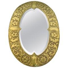 Irish Arts & Crafts Oval Brass Mirror, Attributed to the Glasgow School