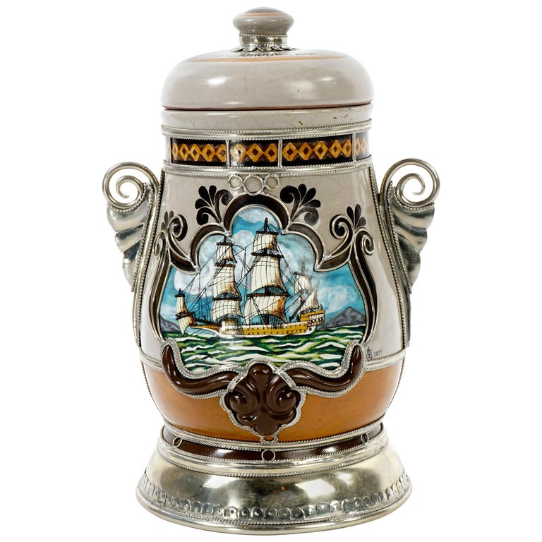 Handmade Galleon Jar, Ceramic and White Metal 'Alpaca', One of a Kind For Sale
