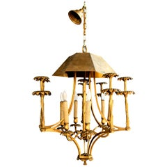 Bronze Chinoiserie Style or Pagoda Palm Tree Six-Light Chandelier
