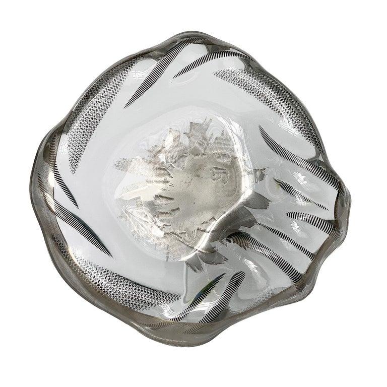 Unique Sculptural Art Glass Low Bowl with Silver Details For Sale