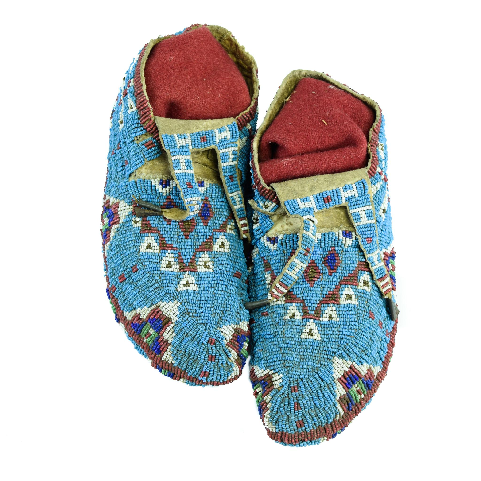 Sioux Native Dragonfly Beaded Moccasins
