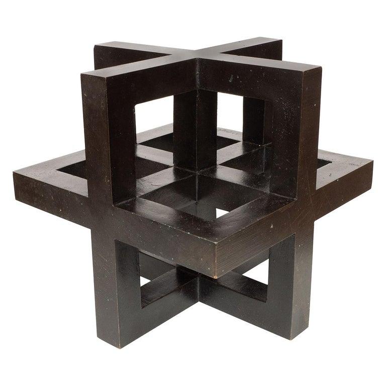 Openwork Bronze Geometric Sculpture For Sale
