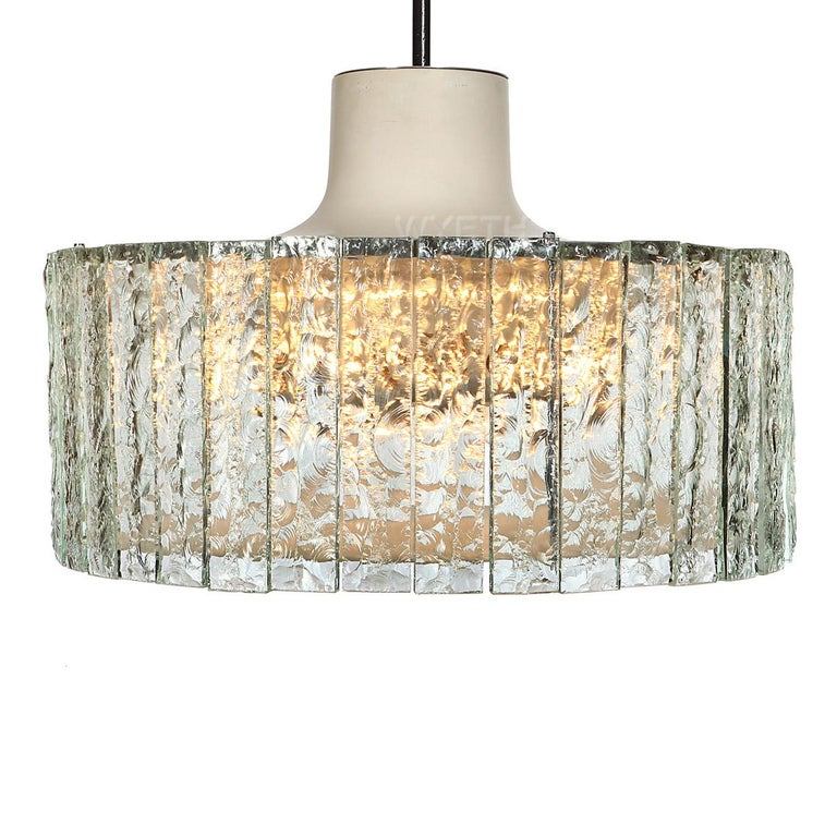 Extraordinary Glass Ceiling Fixture/Chandelier by Max Ingrand for Fontana Arte For Sale