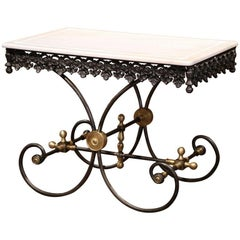 Polished French Iron Butcher or Pastry Table with Marble Top and Brass Mounts