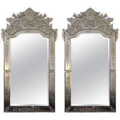 Pair of Large Palatial Venetian Mirrors, Early 20th Century