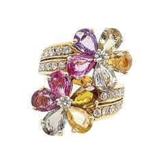 Bulgari Gold Sapphire Diamond Floral Ring
