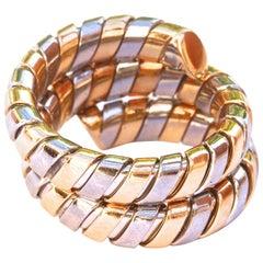 Bulgari Gold Stainless Steel Tubogas Gold Ring