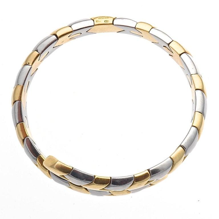 Modern Bulgari Gold and Steel Bracelet For Sale
