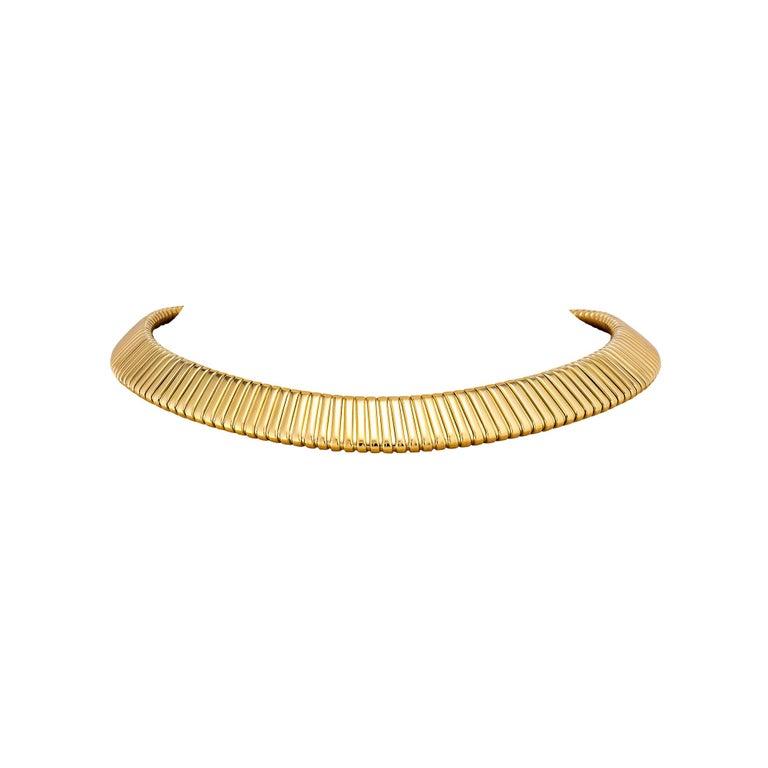 Modern Bulgari Gold Tubogas Vintage Necklace For Sale