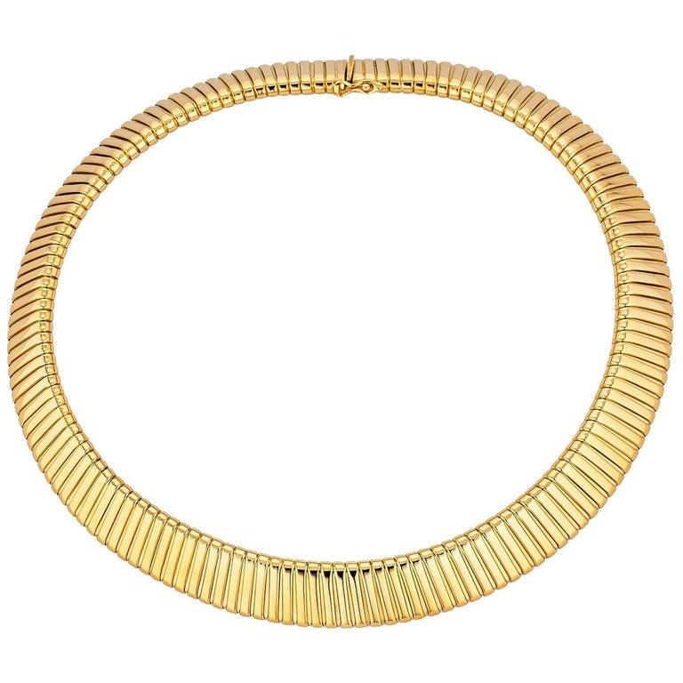 Bulgari Gold Tubogas Vintage Necklace For Sale