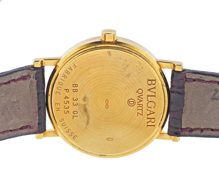 Women's or Men's Bulgari Gold Watch BB 33 GL For Sale