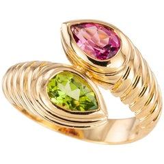 Bulgari Green Pink Tourmaline Yellow Gold Snake Ring