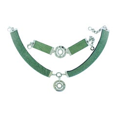 Bulgari Green Stingray Leather Diamond 18 Karat White Gold Necklace Bracelet Set