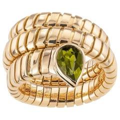 Bulgari Green Tourmaline Yellow Gold Serpent Ring