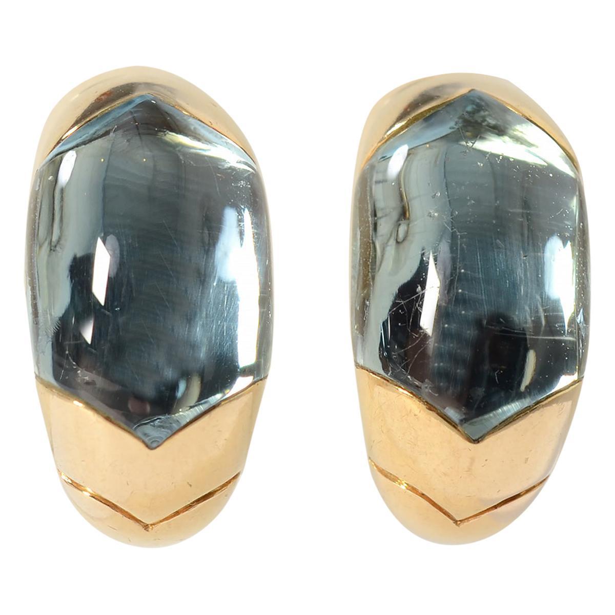 Bulgari Tronchetto Half Hoop Blue Topaz Gold Earrings