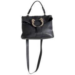 Bulgari Handbag Convertible Shoulder Strap Leather with Jewel in Worked Metal