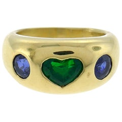 Bulgari Heart Emerald Sapphire Yellow Gold Ring 1980s