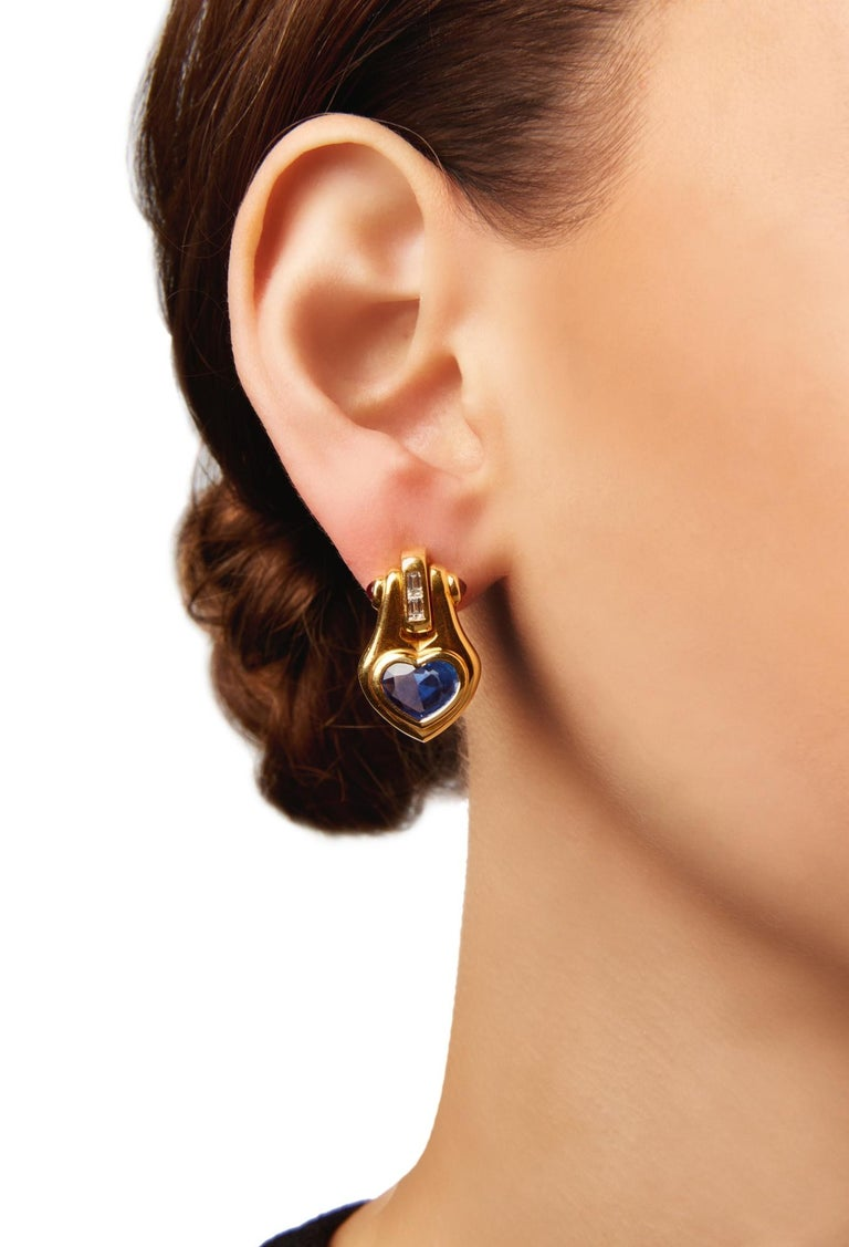 Bulgari Heart Shape Sapphire Ear-Pendants In Good Condition For Sale In New York, NY