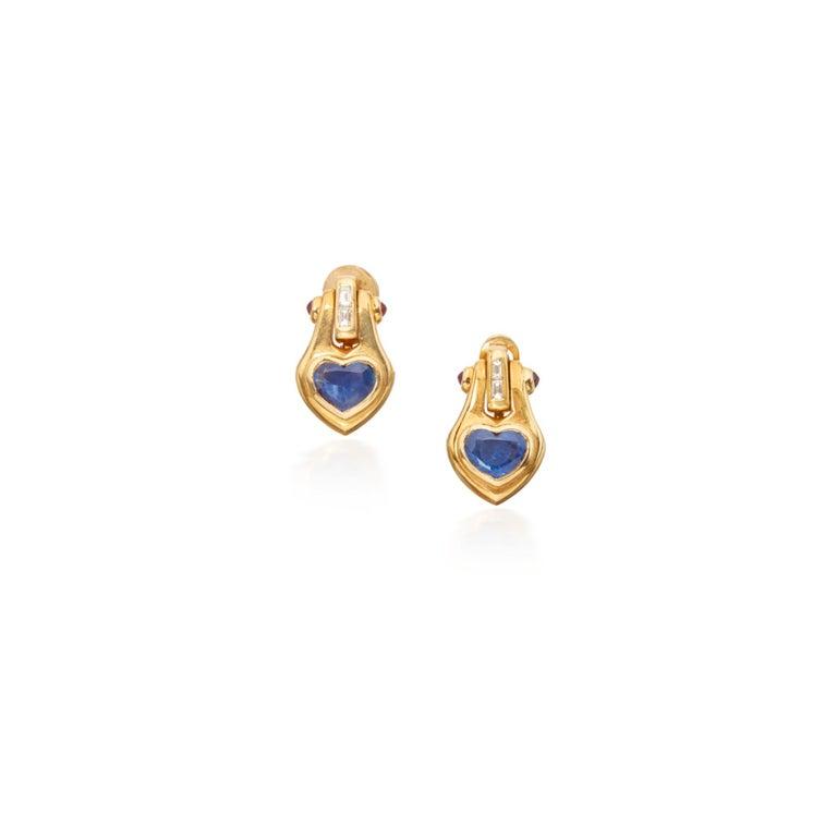 Women's Bulgari Heart Shape Sapphire Ear-Pendants For Sale
