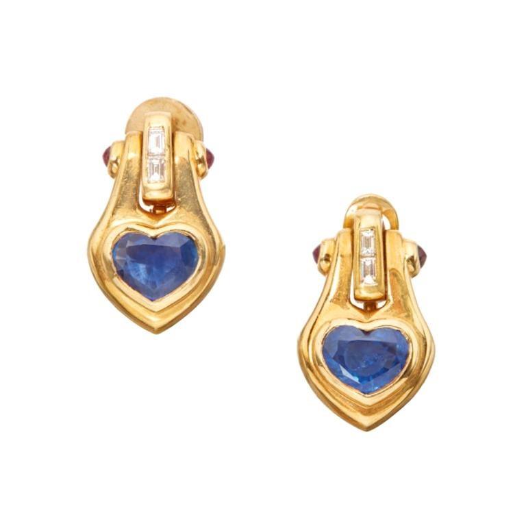 Bulgari Heart Shape Sapphire Ear-Pendants For Sale